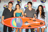 UNIVERSAL CITY, CA - JULY 22: Paul Wesley, Nina Dobrev, Ian Somerhalder and Kat Graham in the press room at the 2012 Teen Choice Awards at Gibson Amphitheatre on July 22, 2012 in Universal City, California. &copy; mpi28/MediaPunch Inc. /NortePhoto.com*<br />