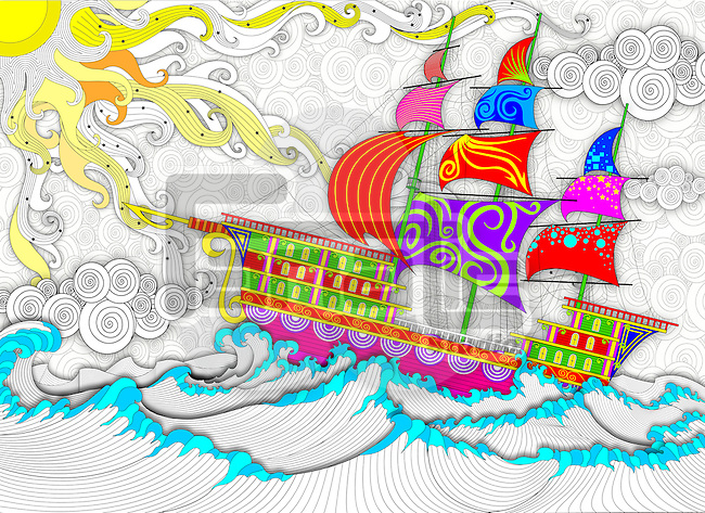 Illustration of cruise ship sailing in sea