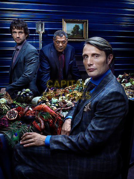 Hugh Dancy, Laurence Fishburne, Mads Mikkelsen<br /> in Hannibal (2013)<br /> *Filmstill - Editorial Use Only*<br /> CAP/NFS<br /> Image supplied by Capital Pictures