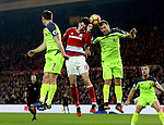 Marten de Roon of Middlesbrough has his header blocked by Ragnar Klavan of Liverpool during the English Premier League match at the Riverside Stadium, Middlesbrough. Picture date: December 14th, 2016. Pic Simon Bellis/Sportimage
