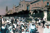 San Diego: Panama-California Exposition, 1915. Tinted, blown-up photo Horton Plaza, 1985.