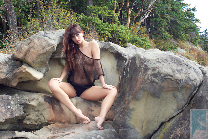 Model Melissa Jean on a beach and in the forest.