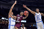 GREENVILLE, SC - MARCH 17: Demontrae Jefferson (3) of Texas Southern University attempts a shot under coverage from Tony Bradley (5) of the University of North Carolina during the 2017 NCAA Men's Basketball Tournament held at Bon Secours Wellness Arena on March 17, 2017 in Greenville, South Carolina. (Photo by Grant Halverson/NCAA Photos via Getty Images)
