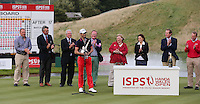 Gregory Bourdy (FRA), with presentation party, is the winner of the 2013 ISPS Handa Wales Open from the Celtic Manor Resort, Newport, Wales. Picture:  David Lloyd / www.golffile.ie