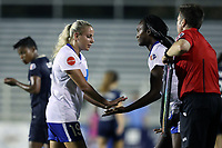 Cary, North Carolina  - Saturday June 17, 2017: Adriana Leon is replaced by Ifeoma Onumonu during a regular season National Women's Soccer League (NWSL) match between the North Carolina Courage and the Boston Breakers at Sahlen's Stadium at WakeMed Soccer Park. The Courage won the game 3-1.
