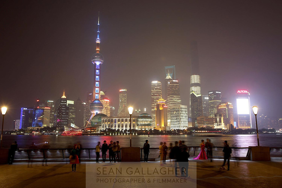 The distinctive Pudong skyline, in Shanghai, at night, 2014.<br />