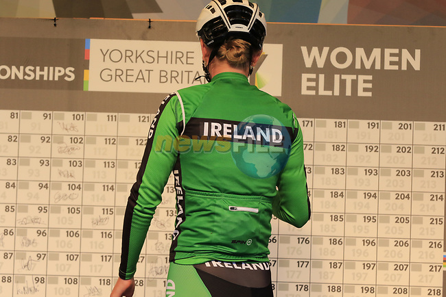 Alice Sharpe of Ireland at sign on for the start of the Women Elite Road Race of the UCI World Championships 2019 running 149.4km from Bradford to Harrogate, England. 28th September 2019.<br /> Picture: Eoin Clarke | Cyclefile<br /> <br /> All photos usage must carry mandatory copyright credit (© Cyclefile | Eoin Clarke)