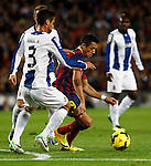 Spain.Barcelona. 01.11.2013<br /> Partido de liga BBVA entre Fc Barcelona- RCD Espanyol<br /> Alexis vs Raul R