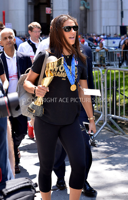 WWW.ACEPIXS.COM<br /> <br /> July 10 2015, New York City<br /> <br /> Carli Lloyd of the winning US Women's soccer team at the ticker tape parade for the World Cup Champions U.S. Women's Soccer National Team on July 10, 2015 in New York City<br /> <br /> By Line: Curtis Means/ACE Pictures<br /> <br /> <br /> ACE Pictures, Inc.<br /> tel: 646 769 0430<br /> Email: info@acepixs.com<br /> www.acepixs.com