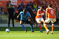 Swindon Town's Anthony Grant under pressure from Blackpool's Grant Ward and Keshi Anderson<br /> <br /> Photographer Kevin Barnes/CameraSport<br /> <br /> The EFL Sky Bet League One - Blackpool v Swindon Town - Saturday 19th September 2020 - Bloomfield Road - Blackpool<br /> <br /> World Copyright © 2020 CameraSport. All rights reserved. 43 Linden Ave. Countesthorpe. Leicester. England. LE8 5PG - Tel: +44 (0) 116 277 4147 - admin@camerasport.com - www.camerasport.com
