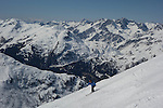 Woman skiing the Rendl Ski Area at St Anton, Austria, .  John offers private photo tours in Denver, Boulder and throughout Colorado, USA.  Year-round. .  John offers private photo tours in Denver, Boulder and throughout Colorado. Year-round.