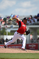 Boston Red Sox  pitcher Steven Wright (65) during a Spring Training game against the New York Mets on March 16, 2015 at JetBlue Park at Fenway South in Fort Myers, Florida.  Boston defeated New York 4-3.  (Mike Janes/Four Seam Images)