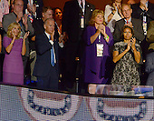 Dr. Jill Biden, United States Vice President Joe Biden, and first lady Michelle Obama applaud during the remarks of former U.S. President Bill Clinton at the 2012 Democratic National Convention in Charlotte, North Carolina on Wednesday, September 5, 2012.  .Credit: Ron Sachs / CNP.(RESTRICTION: NO New York or New Jersey Newspapers or newspapers within a 75 mile radius of New York City)