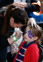 A general view of face painting prior to the match. The Clash, Aviva Premiership match, between Bath Rugby and Leicester Tigers on April 7, 2018 at Twickenham Stadium in London, England. Photo by: Matt Impey / Wired Photos for Onside Images