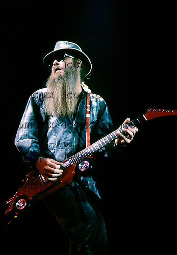 ZZ Top - guitarist Billy Gibbons - performing live on the Eliminator Tour at the Odeon Hammersmith, London - 27 Nov 1983.  Photo by: George Chin/IconicPix
