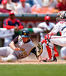 30 June 2005: Jack Wilson, shortstop for the Pittsburgh Pirates, sliding home safely in the 5th inning, during a game against the Washington Nationals. The Nationals defeated the Pirates 7-5 to sweep the 3-game series at RFK Stadium in Washington, DC.  Mandatory Photo Credit: Ed Wolfstein