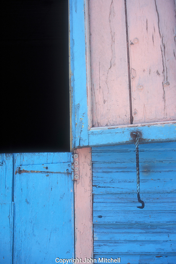Pink and blue wooden shutters, Barahona, Dominican Republic