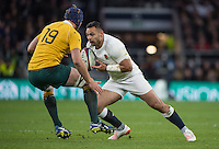 Twickenham, United Kingdom. Ben TE'O looking for away past Dean MUMM, during the Old Mutual Wealth Series Rest Match: England vs Australia, at the RFU Stadium, Twickenham, England, <br /> <br /> Saturday  03/12/2016<br /> <br /> [Mandatory Credit; Peter Spurrier/Intersport-images]