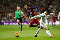 Real Madrid´s James Rodriguez and Barcelona´s Neymar Jr during 2015-16 La Liga match between Real Madrid and Barcelona at Santiago Bernabeu stadium in Madrid, Spain. November 21, 2015. (ALTERPHOTOS/Victor Blanco) /NortePhoto