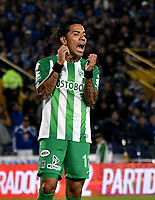 BOGOTA - COLOMBIA - 18 – 02 - 2018: Dayro Moreno, jugador de Atletico Nacional, reacciona después de perder oportunidad de gol a Millonarios, durante partido de la fecha 4 entre Millonarios y Atletico Nacional, por la Liga Aguila I 2018, jugado en el estadio Nemesio Camacho El Campin de la ciudad de Bogota. / Dayro Moreno, player of Atletico Nacional,  reacts after missing opportunity to score goal to Millonarios, during a match of the 4th date between Millonarios and Atletico Nacional, for the Liga Aguila I 2018 played at the Nemesio Camacho El Campin Stadium in Bogota city, Photo: VizzorImage / Luis Ramirez / Staff.