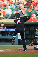 Drew Ellis (10) of the Louisville Cardinals at bat against the Notre Dame Fighting Irish in Game Eight of the 2017 ACC Baseball Championship at Louisville Slugger Field on May 25, 2017 in Louisville, Kentucky. The Cardinals defeated the Fighting Irish 10-3. (Brian Westerholt/Four Seam Images)