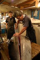 One of the shop's tuna knives in use at Tsukiji fish market. The tuna weighs almost 200 kilos and is being cut up before being sent to retailers in the market..