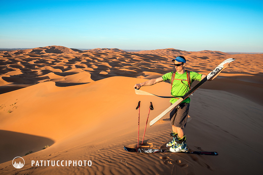 Skiing in the sand dunes of the Sahara Desert, near Merzouga, Morocco is possible either from the small town bordering the dunes, or by taking camels further into the desert to access to some of the higher dunes.