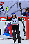 Jessica Diggins competes during the 5 Km Individual Free race of Tour de ski as part of the FIS Cross Country Ski World Cup  in Dobbiaco, Toblach, on January 8, 2016. American Jessica Diggins wins the race, ahead of Norway's Heidi Weng and third place for actual leader Ingvild Flugstad Oestberg from Norway. Credit: Pierre Teyssot