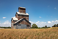 An old grain elevator in the Flint Hills of Kansas.