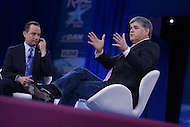 National Harbor, MD - March 4, 2016: Talk show host Sean Hannity moderates a discussion onn the state of the Republic party with Republican National Committee chairman Reince Priebus at the 2016 Conservative Political Action Conference, hosted by the American Conservative Union, at the Gaylord National Hotel in National Harbor, MD, March 4, 2016. Each year, CPAC brings thousands of  people together to hear and interact with conservative movement leaders.   (Photo by Don Baxter/Media Images International)