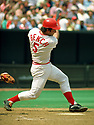 CIRCA 1977:  Johnny Bench #5, of the Cincinnati Reds, at bat during  a game from his 1977 season.  Johnny Bench played for 17 seasons, all with the Cincinnati Reds. Johnny Bench was a 14 -time All-Star, 2-time National League MVP and was inducted to the Baseball Hall of Fame in 1989. (Photo by: 1977  SportPics  )  Johnny Bench