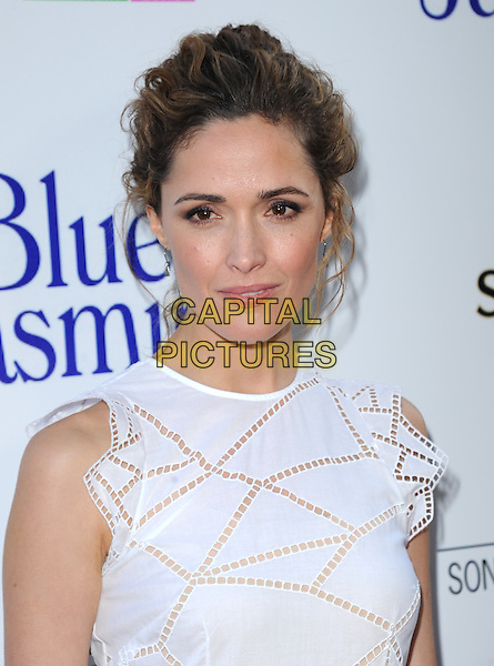 Rose Byrne<br /> 'Blue Jasmine'  L.A. premiere at The Academy of Motion Pictures Arts and Sciences in Beverly Hills, California, USA.<br /> 24th July 2013 <br /> headshot portrait white sleeveless perforated <br /> CAP/DVS<br /> &copy;DVS/Capital Pictures