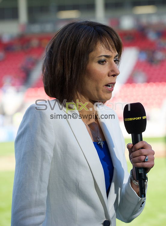 Picture by Allan McKenzie/SWpix.com - 09/08/2014 - Rugby League - Tetley's Challenge Cup Semi-Final - Leeds Rhinos v Warrington Wolves - Langtree Park, St Helens, England - BBC's Tanya Arnold.