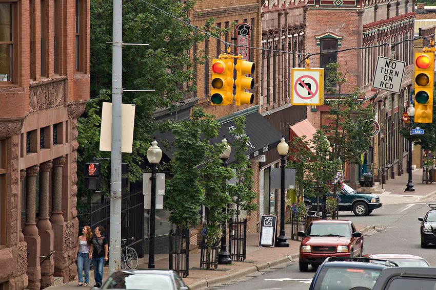 Activity in downtown Marquette Michigan.