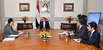 Egyptian President Abdel-Fattah al-Sisi meets with Minister of Transport and Communications in Cairo, Egypt, on June 19, 2018. Photo by Egyptian President Office