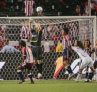 Chivas USA goalkeeper Brad Guzan (18) pushes a ball over the cross bar late in the second half. CD Chivas USA beat Real Salt Lake 1-0 in a MLS game at the Home Depot Center in Carson, California, Sunday, August 26, 2007.