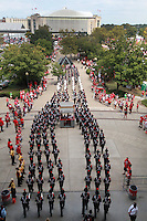 The Ohio State University Marching Band heads to St. John Arena (top of photo) from Ohio Stadium  for the Skull Session before the start of a football game between the Ohio State Buckeyes and the San Diego State Aztecs on Sept. 7, 2013 at Ohio Stadium. (Columbus Dispatch photo by Fred Squillante)