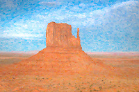 The Left Mitten in the Monument Valley Navajo Tribal Park.  The image was creatively modified to resemble a painting.