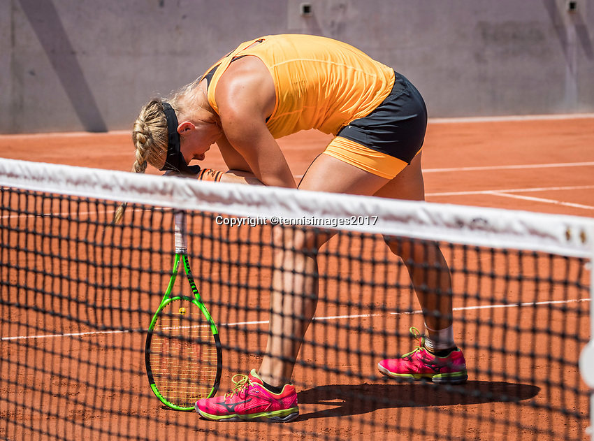 Paris, France, 1 June, 2017, Tennis, French Open, Roland Garros, Women's doubles: Kiki Bertens (NED) reacts after hitting matchpoint volley out.<br /> Photo: Henk Koster/tennisimages.com