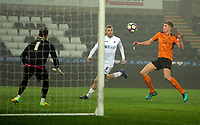 Pictured: Oliver McBurnie of Swansea City (C) fails to score Monday 13 March 2017<br /> Re: Premier League 2, Swansea City U23 v Wolverhampton Wanderers FC at the Liberty Stadium, Swansea, UK