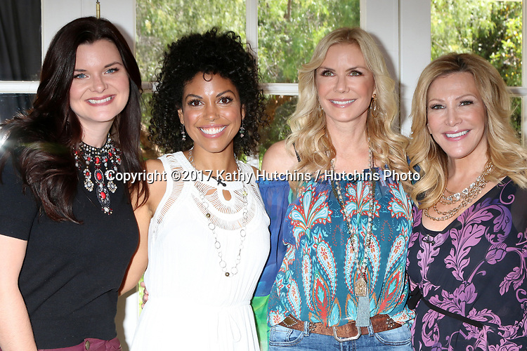"LOS ANGELES - APR 14:  Heather Tom, Karla Mosley, Katherine Kelly Lang, Kym Douglas at the ""Home and Family"" Celebrates ""Bold and Beautiful's"" 30 Years at Universal Studios Back Lot on April 14, 2017 in Los Angeles, CA"