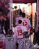 BC heads off ice a few minutes after the power outage began. - The Boston College Eagles defeated the visiting University of Massachusetts-Amherst Minutemen 2-1 in the opening game of their 2012 Hockey East quarterfinal matchup on Friday, March 9, 2012, at Kelley Rink at Conte Forum in Chestnut Hill, Massachusetts.