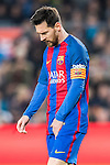 Lionel Andres Messi of FC Barcelona reacts during their Copa del Rey 2016-17 Semi-final match between FC Barcelona and Atletico de Madrid at the Camp Nou on 07 February 2017 in Barcelona, Spain. Photo by Diego Gonzalez Souto / Power Sport Images