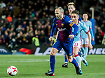 Andres Iniesta Lujan (L) of FC Barcelona is followed by Emre Mor of RC Celta de Vigo  during the Copa Del Rey 2017-18 Round of 16 (2nd leg) match between FC Barcelona and RC Celta de Vigo at Camp Nou on 11 January 2018 in Barcelona, Spain. Photo by Vicens Gimenez / Power Sport Images