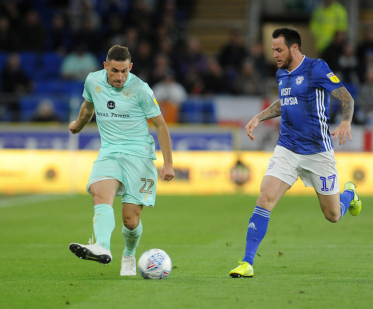 Queens Park Rangers' Angel Rangel is put under pressure from Cardiff City's Lee Tomlin<br /> <br /> Photographer Ian Cook/CameraSport<br /> <br /> The EFL Sky Bet Championship - Cardiff City v Queens Park Rangers - Wednesday 2nd October 2019  - Cardiff City Stadium - Cardiff<br /> <br /> World Copyright © 2019 CameraSport. All rights reserved. 43 Linden Ave. Countesthorpe. Leicester. England. LE8 5PG - Tel: +44 (0) 116 277 4147 - admin@camerasport.com - www.camerasport.com