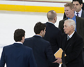 Brendan Buckley (UConn - Assistant Coach), Joe Pereira (UConn - Assistant Coach), Jerry York (BC - Head Coach), Mike Cavanaugh (UConn - Head Coach), Greg Brown (BC - Associate Head Coach), Mike Ayers (BC - Assistant Coach) - The Boston College Eagles defeated the visiting UConn Huskies 2-1 on Tuesday, January 24, 2017, at Kelley Rink in Conte Forum in Chestnut Hill, Massachusetts.
