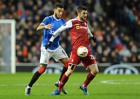 Connor Goldson of Rangers battles for the ball with Paulinho of Sporting Braga during Rangers vs SC Braga, UEFA Europa League Football at Ibrox Stadium on 20th February 2020