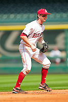 Arkansas Razorbacks shortstop Tim Carver #18 on defense against the Texas Tech Red Raiders at Minute Maid Park on March 2, 2012 in Houston, Texas.  The Razorbacks defeated the Red Raiders 3-1. (Brian Westerholt/Four Seam Images)