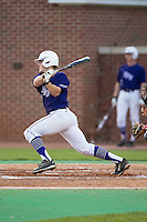 Carson Jackson (10) of the High Point Panthers follows through on his swing against the Davidson Wildcats at Willard Stadium on March 21, 2015 in High Point, North Carolina.  The Panthers defeated the Wildcats 15-2.  (Brian Westerholt/Four Seam Images)