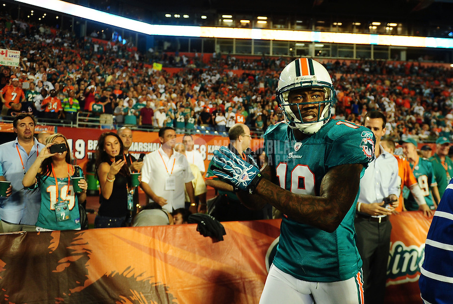Nov. 18, 2010;  Miami, FL, USA; Miami Dolphins wide receiver (19) Brandon Marshall against the Chicago Bears at Sun Life Stadium. The Bears defeated the Dolphins 16-0. Mandatory Credit: Mark J. Rebilas-